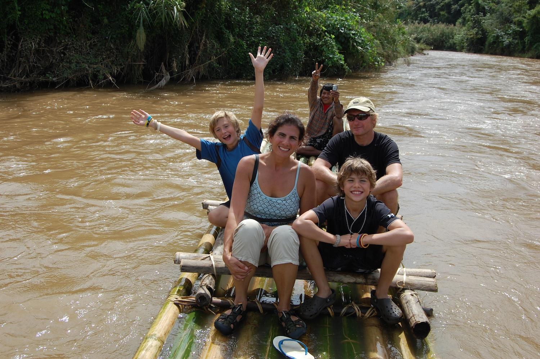 Jenss family on a raft