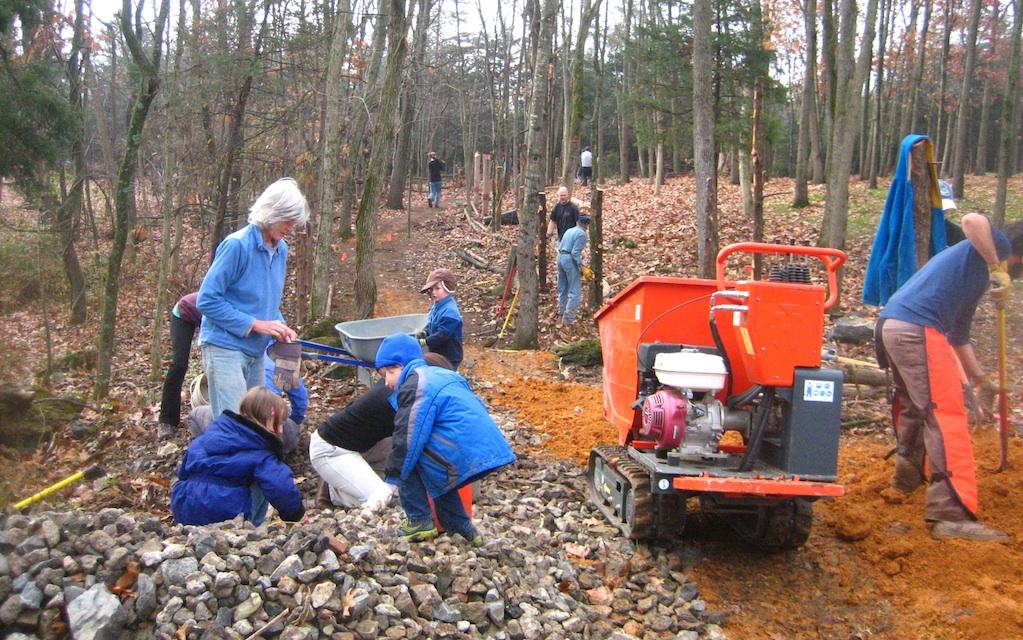 Trail construction in Hillandale Park, Virginia